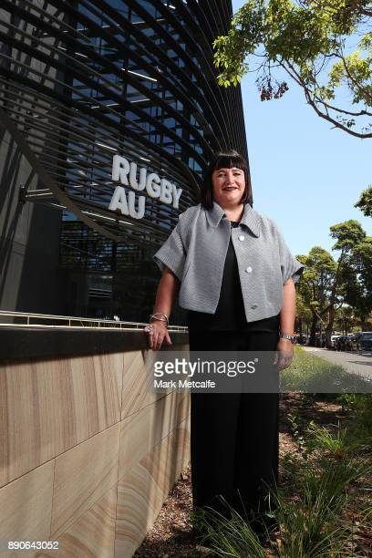 Newly appointed Rugby Australia Chief Executive Officer Raelene Castle poses during a press conference at the Rugby Australia Building on December 12...