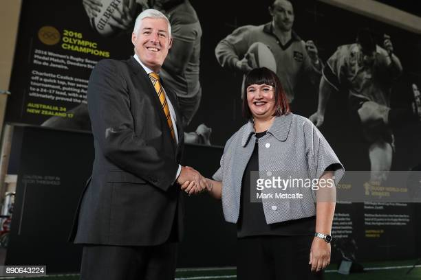 Newly appointed Rugby Australia Chief Executive Officer Raelene Castle poses with ARU chairman Cameron Clyne during a press conference at the Rugby...