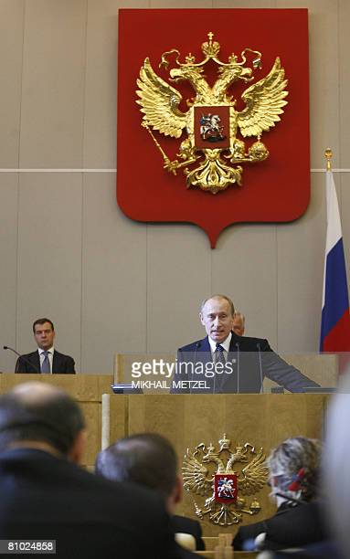 Newly appointed Russian Prime Minister Vladimir Putin addresses the State Duma lower parliament chamber in Moscow on May 08 2008 Vladimir Putin will...