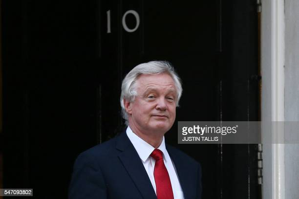 Newly appointed Secretary of State for Exiting the European Union David Davis leaves 10 Downing Street in central London on July 13 2016 after new...