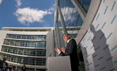 Newly appointed Siemens President and CEO Joe Kaeser speaks during a pressconference at the headquarters of Siemens AG on July 31 2013 in Munich...