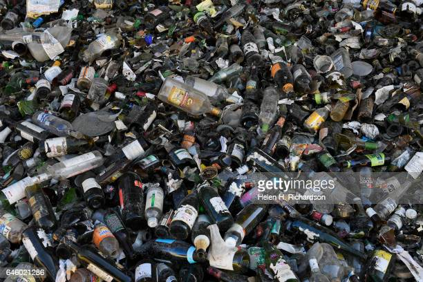 Newly arrived glass bottles get ready for the recycling process at the new state of the art Momentum Recycling plant on February 27 2017 in...