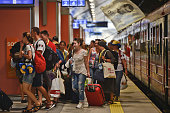 A newly arrived group of pilgrims from Ukraine leaves the train in Krakow's main train station Thousands of pilgrims from around the world arrive to...