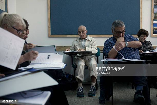 Newly arrived immigrants from France study Hebrew at Ulpan on March 12 2015 in Netanya Israel The recent wave of antiSemetism that has swept over...