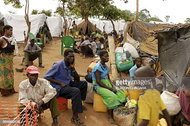 Newly arrived Mozambican refugees wait for registration at the Kapise refugee camp in the Mwanza district on the Malawian Mozambican border on...