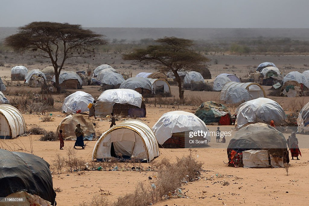 Newly arrived Somalian refugees settle on the edge of the Dagahaley refugee camp which makes up part of the giant Dadaab refugee settlement on July...