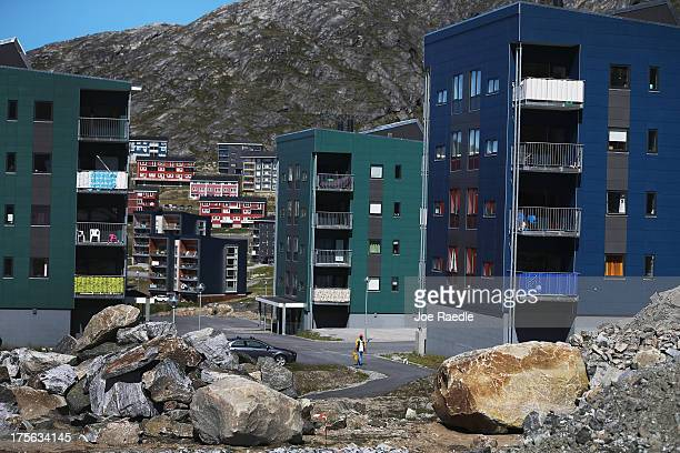 Newly built apartment buildings are seen on July 28 2013 in Nuuk Greenland Nuuk the capital of the country of about 56000 people is where the...
