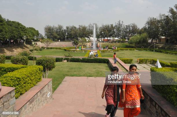 A newly built park for visitors in front of the ancestral house of ShaheedAAzam Bhagat Singh at Khatkar Kalan on March 23 2017 in Jalandhar India The...