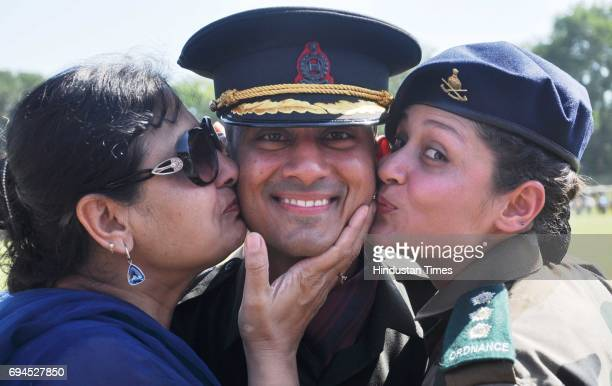 A newly commissioned officer greeted by his mother and sister after the Passing Out Parade at Indian Military Academy on June 10 2017 in Dehradun...