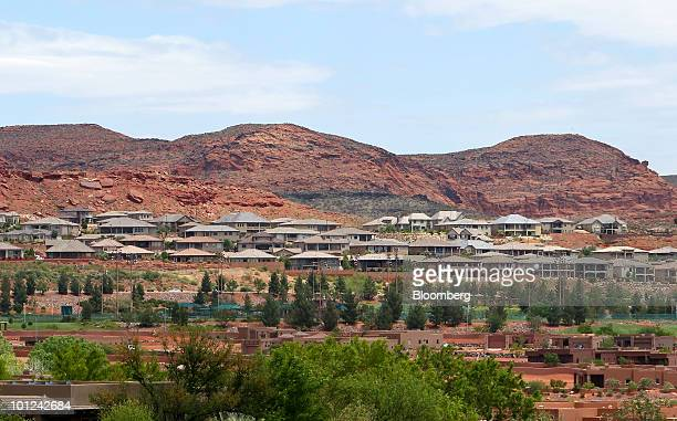 Newly completed homes stand in St George Utah US on Wednesday May 26 2010 Housing starts rose to a 672000 annual rate last month the highest since...