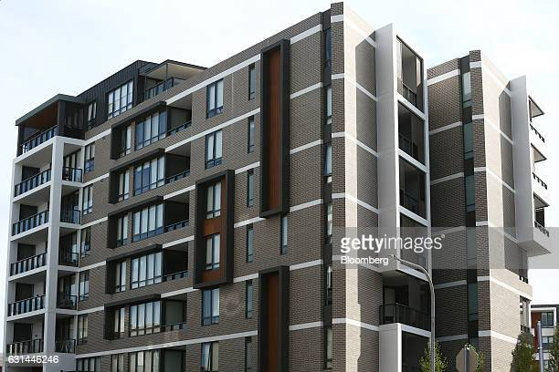 Newly constructed apartments stand in the suburb of Putney Hill in Sydney Australia on Sunday Jan 8 2017 Australian house values increased at the...