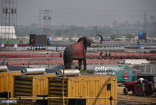Newly constructed buildings and structures for a World Cultural Festival organized by Art of Living on the bank of river Yamuna on March 7 2016 in...