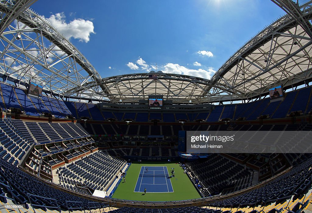 A newly constructed partial roof covering Arthur Ashe Stadium is seen prior to the 2015 US Open at USTA Billie Jean King National Tennis Center on...