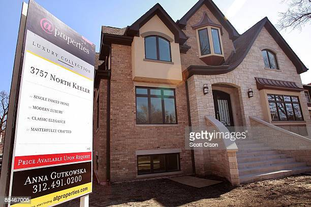 A newly constucted house is offered for sale in the Old Irving Park neighborhood March 17 2009 in Chicago Illinois The Commerce Department said...