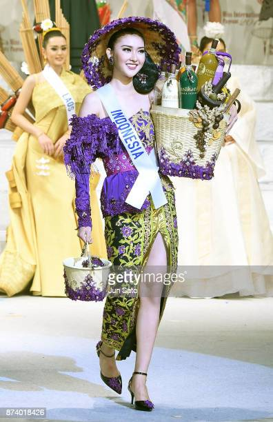 Newly crowned Kevin Lilliana of Indonesia walks on stage during the Miss International Beauty Pageant 2017 Awarding Ceremony at the Tokyo Dome City...