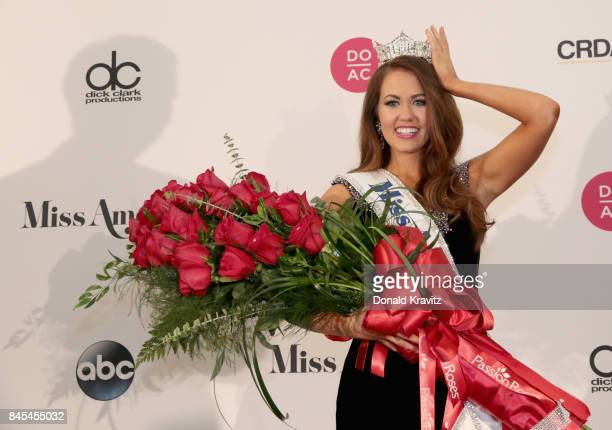 Newly crowned Miss America 2018 Cara Mund celebrates during the 2018 Miss America Competition Press Conference at Boardwalk Hall Arena on September...