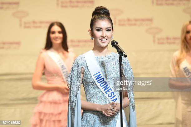 Newly crowned Miss International Kevin Lilliana of Indonesia makes a speech during the Miss International Beauty Pageant 2017 Awarding Ceremony at...