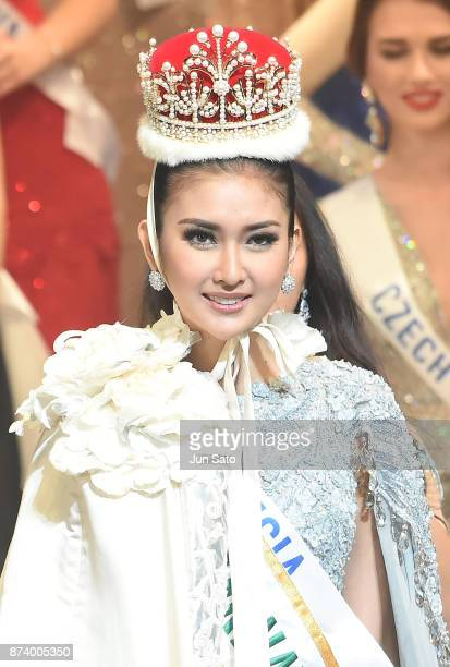 Newly crowned Miss International Kevin Lilliana of Indonesia smiles during the Miss International Beauty Pageant 2017 Awarding Ceremony at the Tokyo...