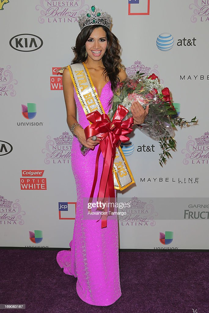 Newly crowned Nuestra Belleza Latina Marisela De Montecristo attends Univisions Nuestra Belleza Latina Grand Finale at Univision Headquarters on May 19, 2013 in Miami, Florida.