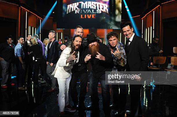 Newly crowned season 5 'Ink Master' winner Jason Clay Dunn poses with judge Oliver Peck Season 2 'Ink Master' winner Steven Tefft and Season 3 'Ink...