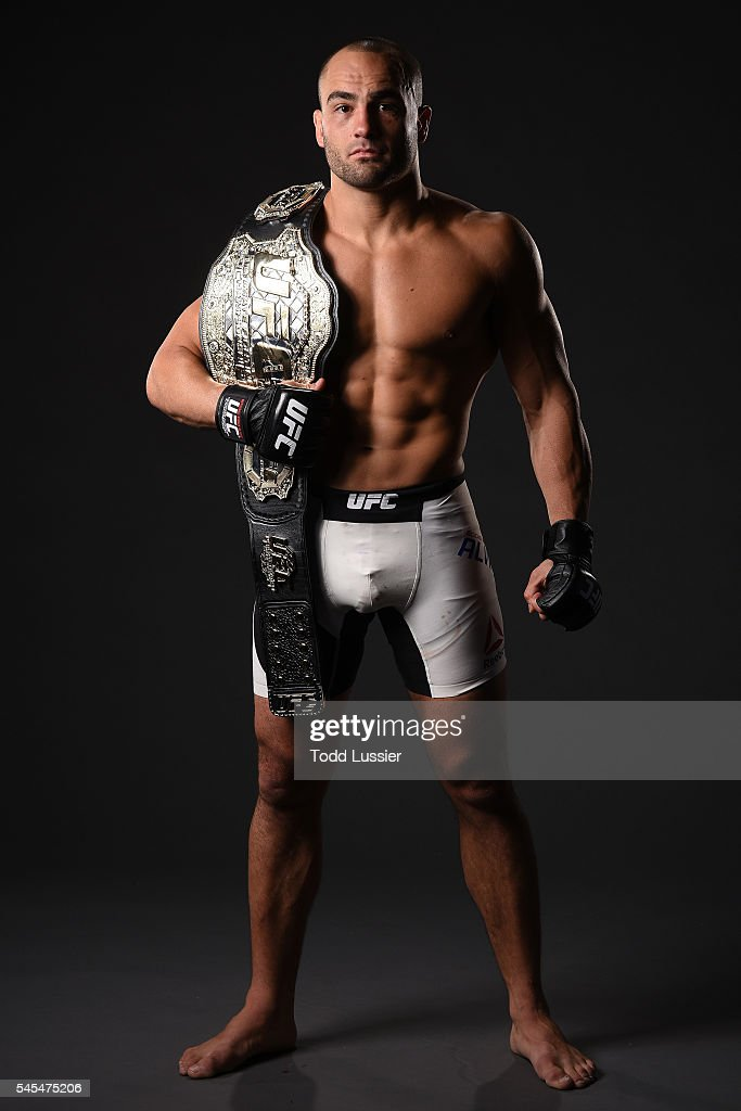 Newly crowned UFC lightweight champion Eddie Alvarez poses for a portrait backstage after his victory over Rafael Dos Anjos of Brazil during the UFC Fight Night event inside the MGM Grand Garden Arena on July 7, 2016 in Las Vegas, Nevada.