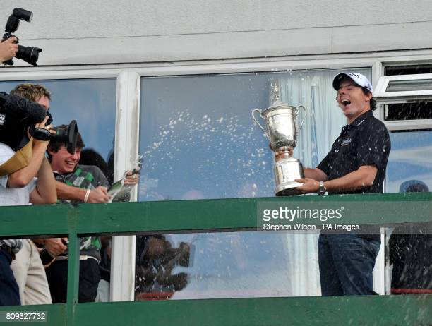 Newly crowned US Open Champion Rory McIlroy poses with the trophy during the celebration at Holywood Golf Club County Down