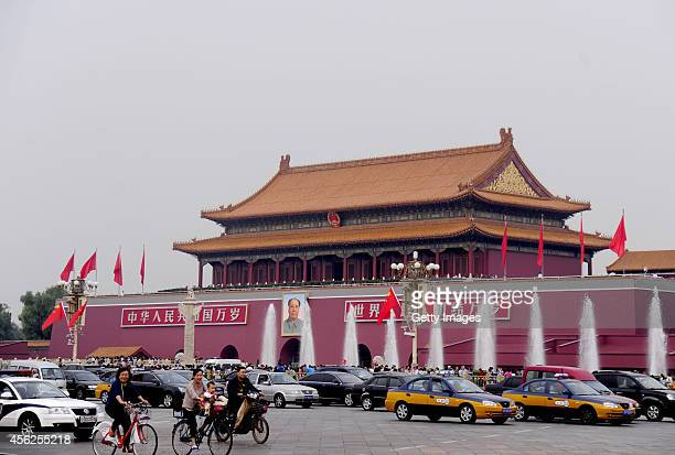 Newly decorated Tian'anmen square meets its tourists during the upcoming National Day of the People's Republic of China on September 28 2014 in...