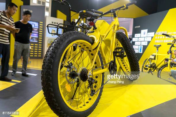 A newly designed outdoors sharing bike shown at the Ofo's stand China sharing cycling industry expo was held in Beijing on Jul 8th OfO is the leading...
