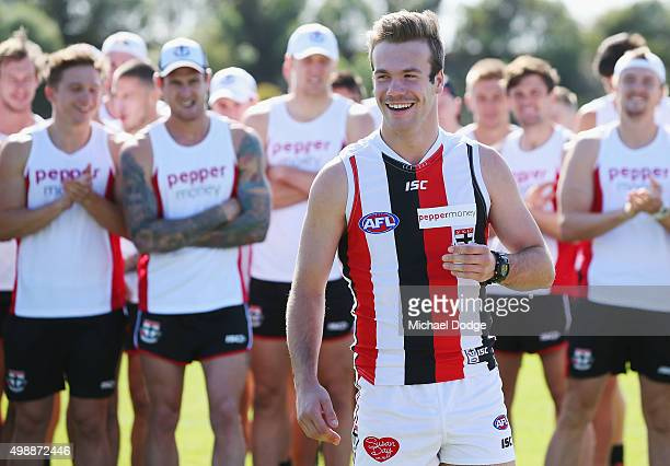 Newly drafted recruit Bailey Rice reacts when being introduced to fans during a St Kilda Saints AFL preseason training session at Linen House Oval on...