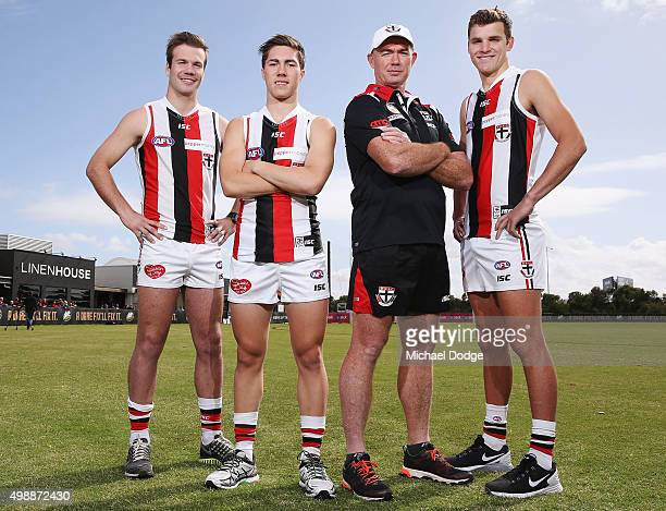 Newly drafted recruits Bailey Rice Jade Gresham and Brandon White pose with head coach Alan Richardson during a St Kilda Saints AFL preseason...