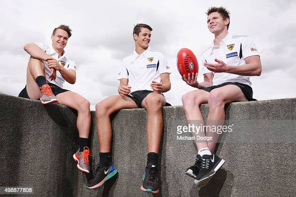 Newly drafted recruits Blake Hardwick Ryan Burton and Kieran Lovell pose during a Hawthorn Hawks AFL media session at Waverley Park on November 27...
