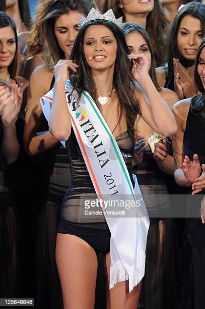 Newly elected 18yearold Stefania Bivone is crowned with the title of Miss Italia 2011 during the final of the beauty pageant contest at the...