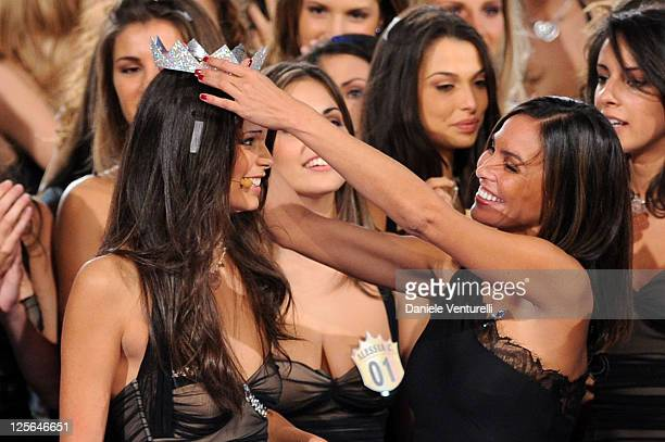 Newly elected 18yearold Stefania Bivone is crowned with the title of Miss Italia 2011 and Ines Sastre attend the final of the beauty pageant contest...