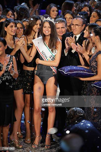 Newly elected 18yearold student Silvia Battisti is crowned with the title of Miss Italy 2007during the final of the beauty contest on September 24...