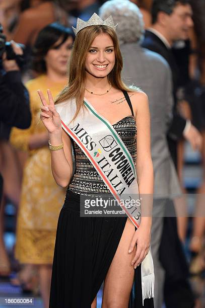 Newly elected 19yearold Giulia Arena is crowned with the title of Miss Italia 2013 during the final of the beauty pageant contest 2013 at the Pala...