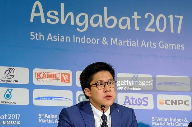 Newly elected Asian eSports Federation president Kenneth Fok gives a press conference on the sidelines of the 2017 Asian Indoor and Martial Arts...