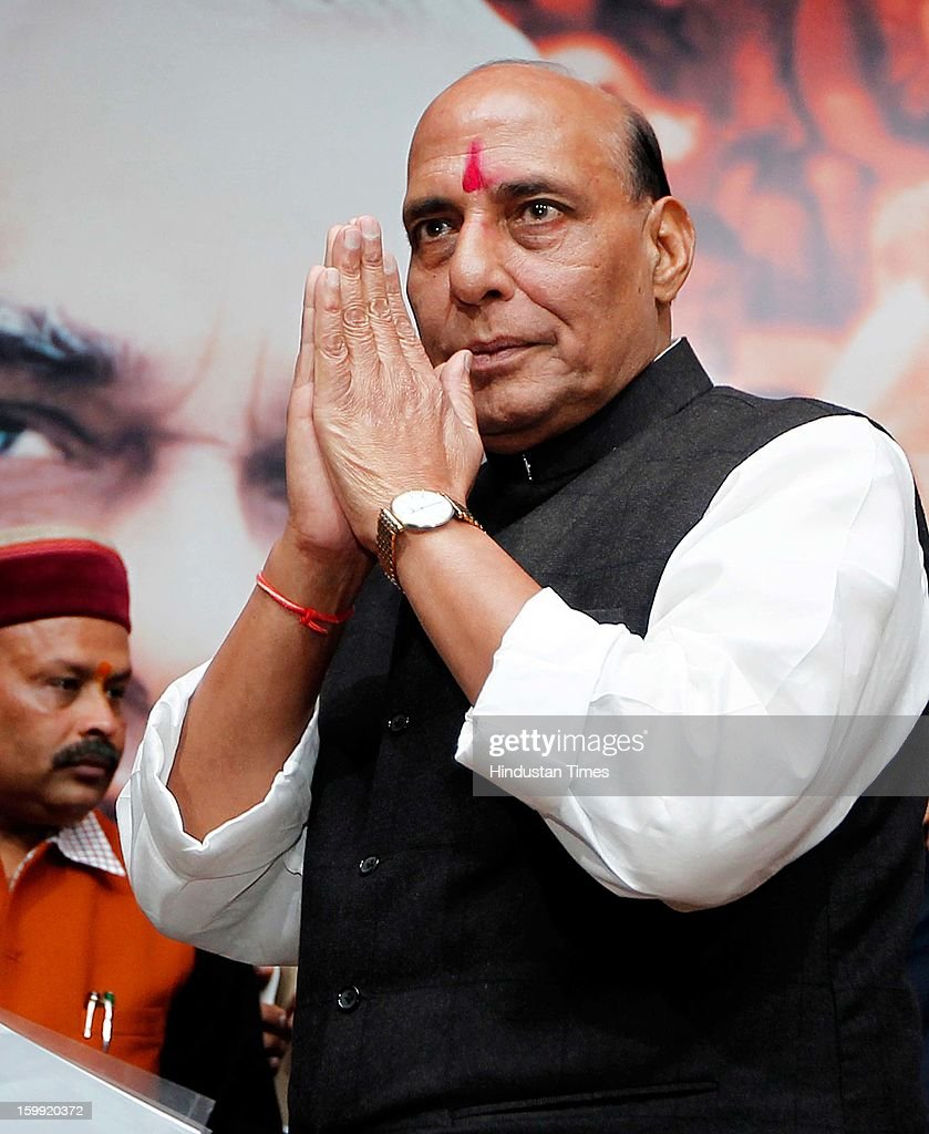 Newly elected BJP President Rajnath Singh at BJP Headquarter, on January 23, 2012 in New Delhi, India. Rajnath Singh succeeds Nitin Gadkari, who decided against contesting for a second term following charges of alleged corruption.