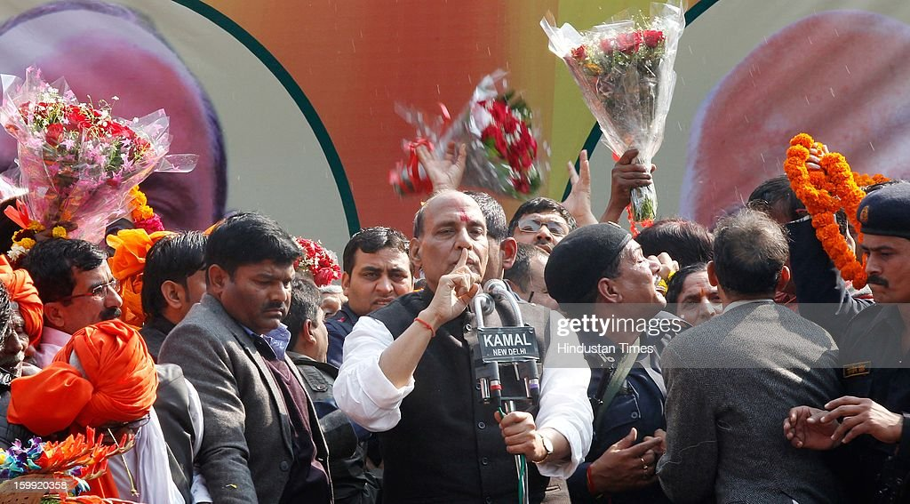Newly elected BJP President Rajnath Singh being addressing the supporters at BJP Headquarter, on January 23, 2012 in New Delhi, India. Rajnath Singh succeeds Nitin Gadkari, who decided against contesting for a second term following charges of alleged corruption.