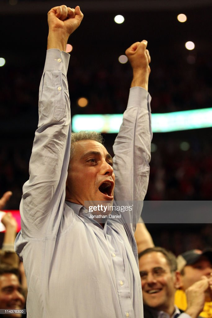 Newly elected Chicago Mayor Rahm Emanuel reacts after Luol Deng #9 of the Chicago Bulls made a 50-foot 3-point shot at the buzzer to end the first quarter against the Miami Heat in Game Two of the Eastern Conference Finals during the 2011 NBA Playoffs on May 18, 2011 at the United Center in Chicago, Illinois.