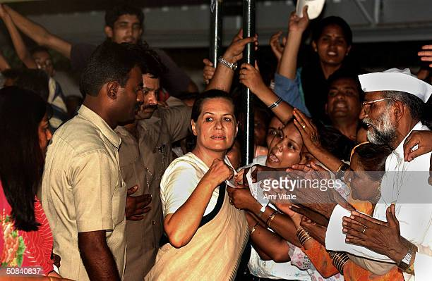 Newly elected Congress Party leader Sonia Gandhi greets supporters May 15 2004 in New Delhi India Congress' election of Ghandi which was expected...