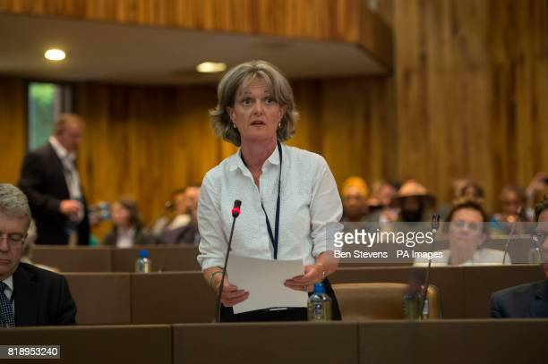 Newly elected council leader Elizabeth Campbell speaks at a meeting of Kensington and Chelsea Council at Kensington Town Hall in west London where...