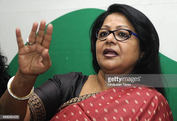 Newly elected Delhi Pradesh Mahila Congress President and former Chairperson of Delhi Commission for Women Barkha Shukla Singh addresses Mahila...