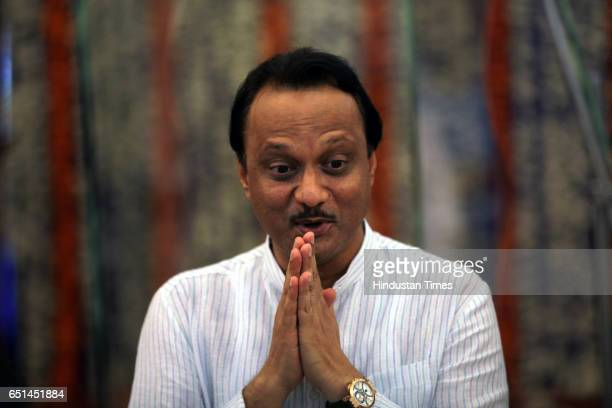 Newly elected Dy CM Mr Ajit Pawar before taking oath for their post duing the swearing in ceremony at Raj Bhavan