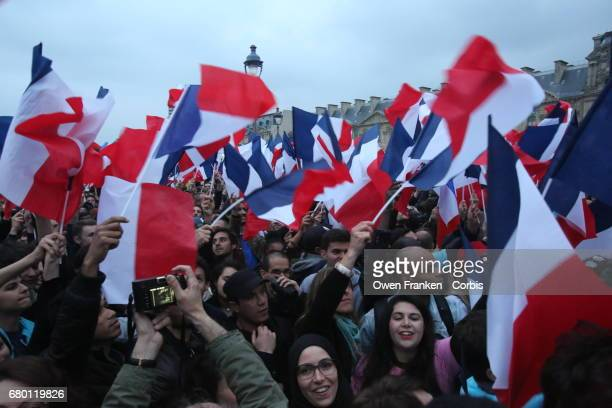 Newly elected French President Emmanuel Macron holds a celebration rally outside the Louvre on May 7 2017 in Paris France