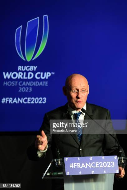 Newly elected French Rugby Federation President Bernard Laporte officially launches France's bid to host the Rugby World Cup 2023 during a press...