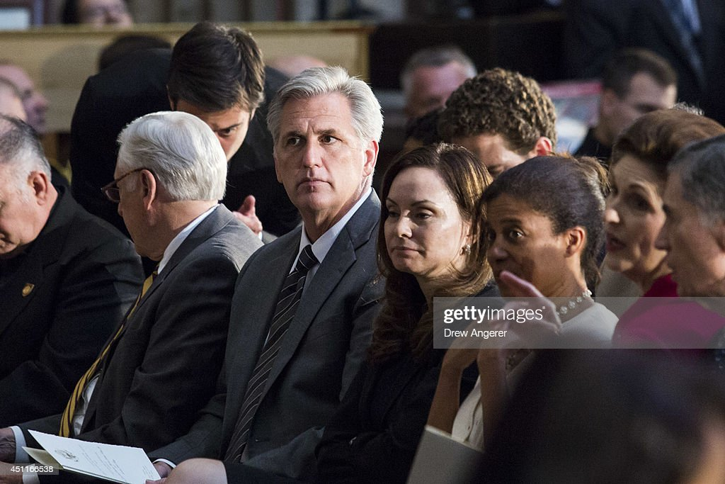 Newly elected House Majority Leader Kevin McCarthy (R-CA) looks on prior to the start of a ceremony to posthumously award the Congressional Gold Medal Dr. Martin Luther King, Jr. and Coretta Scott King, on Capitol Hill, June 24, 2014 in Washington, DC. The Congressional Gold Medal is Congress's highest civilian honor.