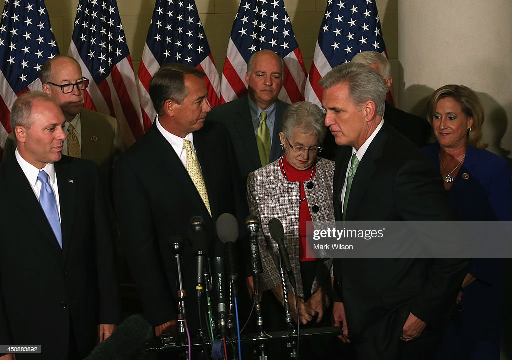Newly elected House Majority Leader Rep Kevin Mccarthy (R-CA) (R) steps up to the microphone to the speak to the media after a House Republican Conference meeting June 19, 2014 on Capitol Hill in Washington, DC. House GOPs elected McCarthy to replace Rep. Eric Cantor stepped down after losing his Virginia primary.