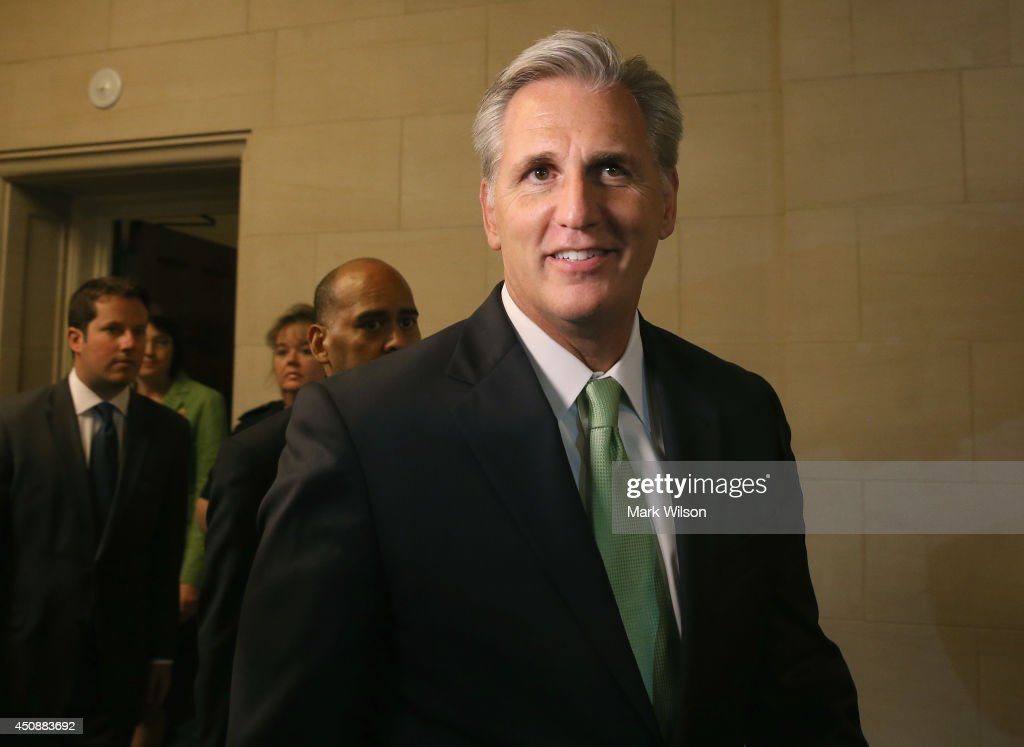 Newly elected House Majority Leader Rep Kevin Mccarthy (R-CA) walks out of a House Republican Conference meeting June 19, 2014 on Capitol Hill in Washington, DC. House GOPs elected McCarthy to replace Rep. Eric Cantor stepped down after losing his Virginia primary.