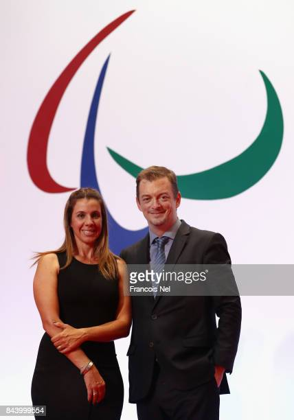 Newly elected International Paralympic Committee President Andrew Parsons poses with his wife Marcela Parsons for a picture during the IPC General...