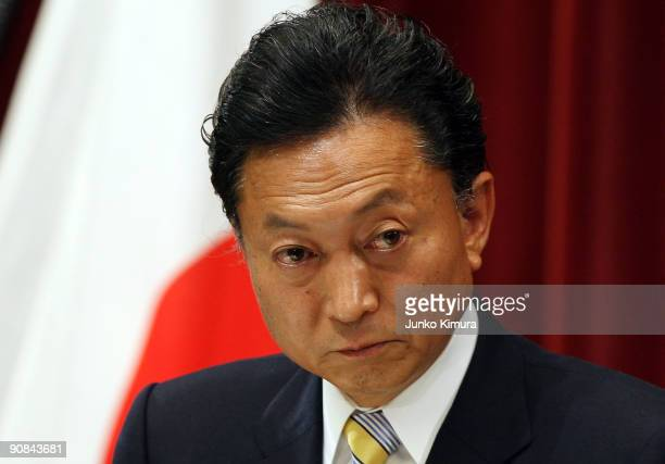 Newly elected Japanese Prime Minister Yukio Hatoyama speaks during a press conference at the Prime Minister's official residence on September 16 2009...